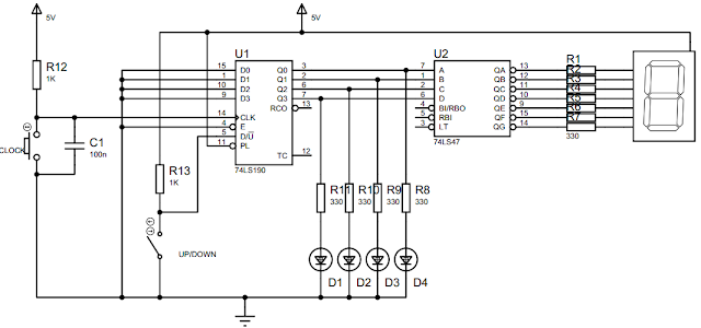 Rangkaian untuk Percobaan Synchronous Counter Up/Down 74LS190
