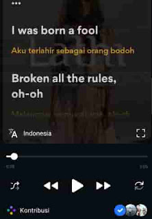 lirik lagu di aplikasi musixmatch