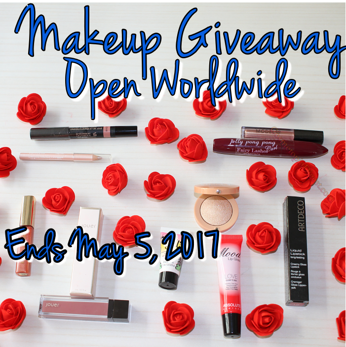 Multi-prize makeup and beauty giveaway open worldwide April May 2017.