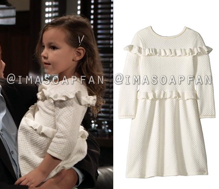 Avery Corinthos, Ava Scarola, Grace Scarola, Ruffled White Sweater Dress, General Hospital, GH