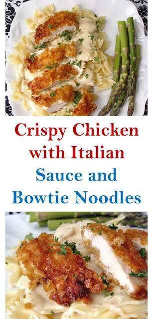 Crispy Chicken with Italian Sauce and Bowtie Noodles #Crispy #Chicken #ItalianSauce #Bowtie #Noodles #CrispyChickenwithItalianSauceandBowtieNoodles