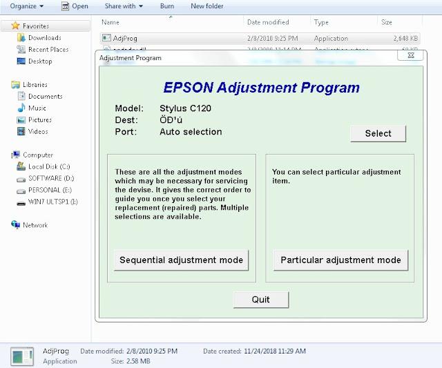 Resetter Epson Stylus C120