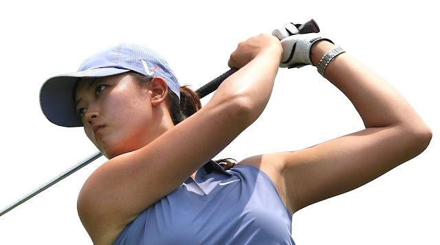 Detail of golfer Michelle Wie swinging