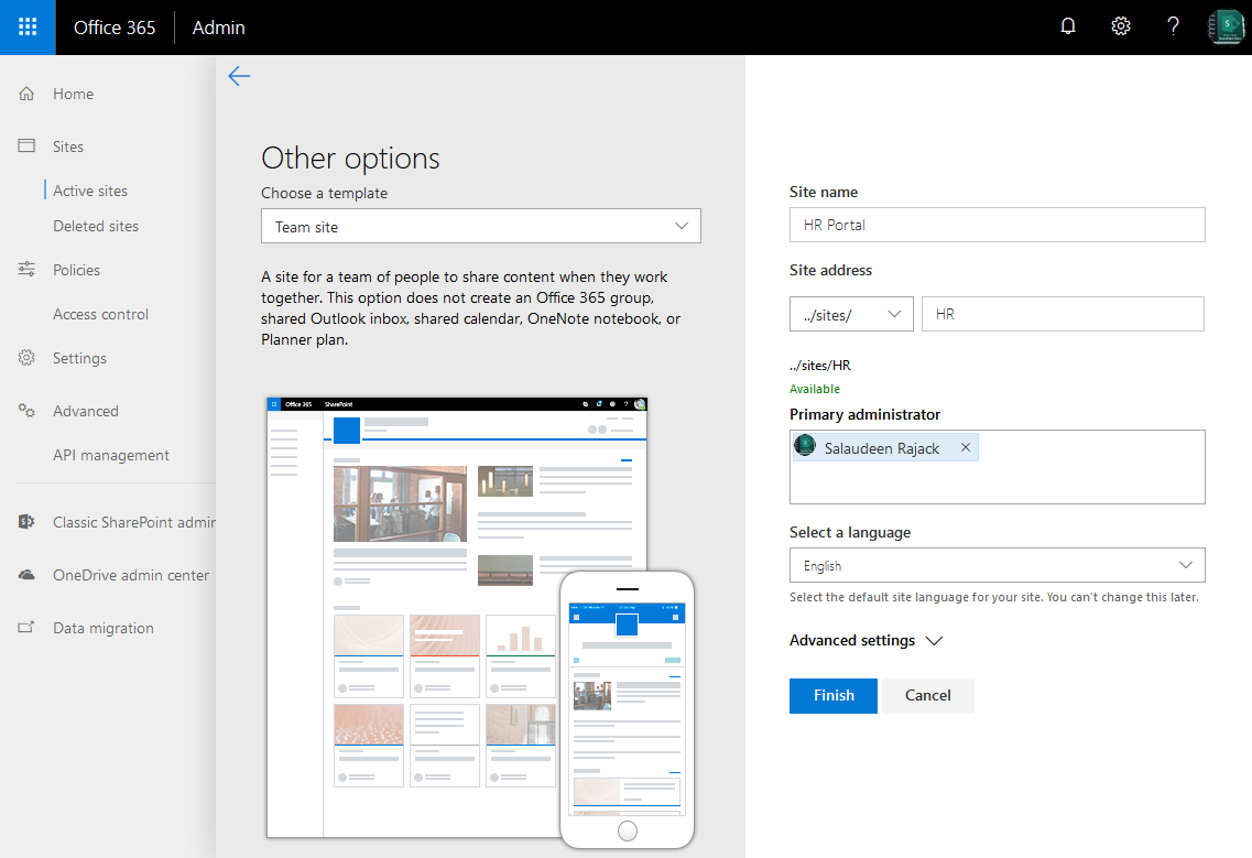sharepoint online create modern team site without group