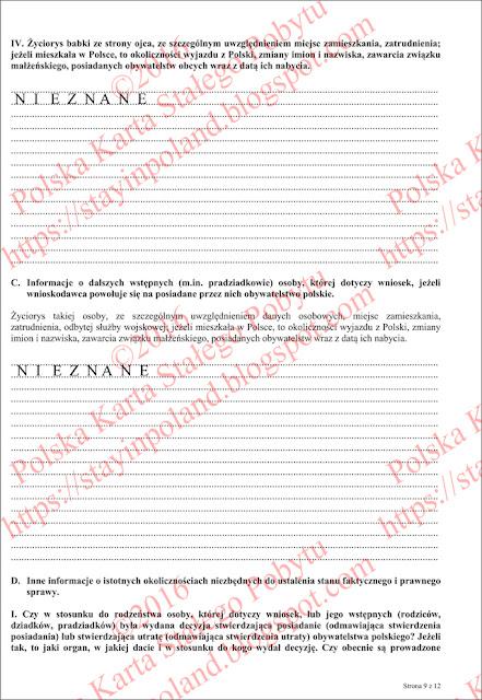 Wniosek o potwierdzenie posiadania obywatelstwa polskiego (s.9)