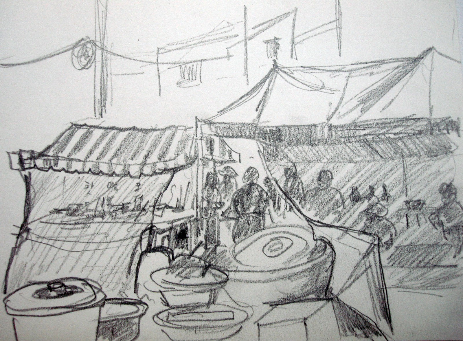 how to draw a simple market scene