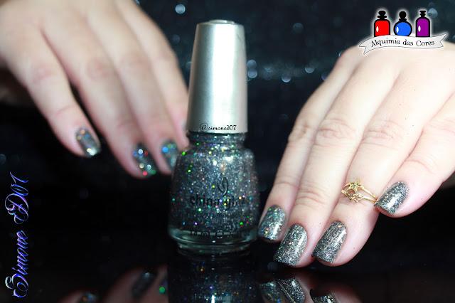 China Glaze, 2011 Eye Candy 3D, Soke Like it Haute, Glitter, Holo, Holográfico, grafite, Simone D07, Mony D07, Grey, Brilho, brilhante, lindo,