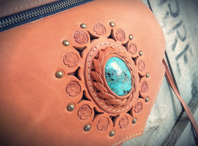 Festival Belt-Leather Utility Belt with Turquoise Stone HANDMADE by Sibo Yanke -Boho Belt-
