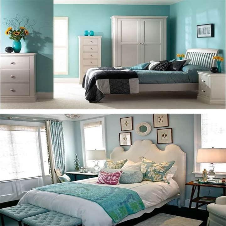 غرفة نوم باللون الأبيض مع الفيروزي