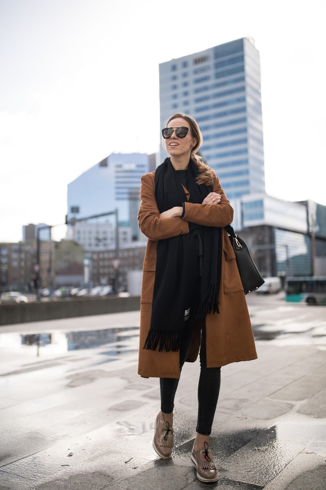 black acne scarf outfit coat