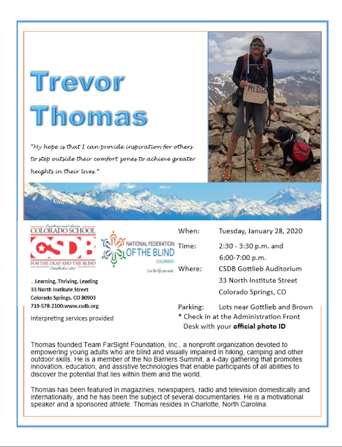 Trevor Thomas founded team FarSight Foundation, Inc. a nonprofit organization devoted to empowering young adults who are blind and visually impaired in hiking, camping, and other outdoor skills. He is a member of No Barriers Summit, a 4-day gathering that promotes innovation, education, and assistive technologies that enable participants of all abilities to discover the potential that lies within them and the world. Thomas has been featured in magazines, newpapers, radio and television domestically and internationally, and he has been the subject of several documentaries. He is a motivational speaker and a sponsored athlete. Thomas resides in Charlotte, North Carolina.