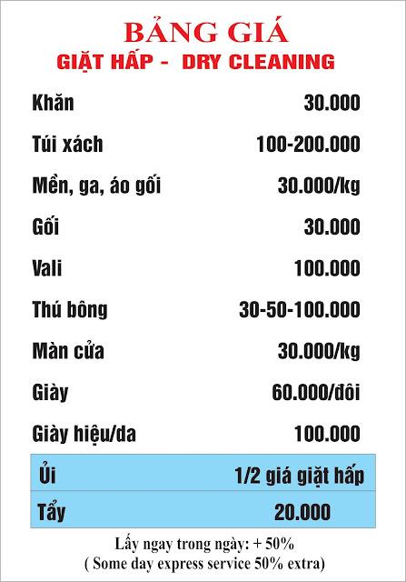 bảng giá giặt hấp đồ cao cấp tại giatlaQAP.com