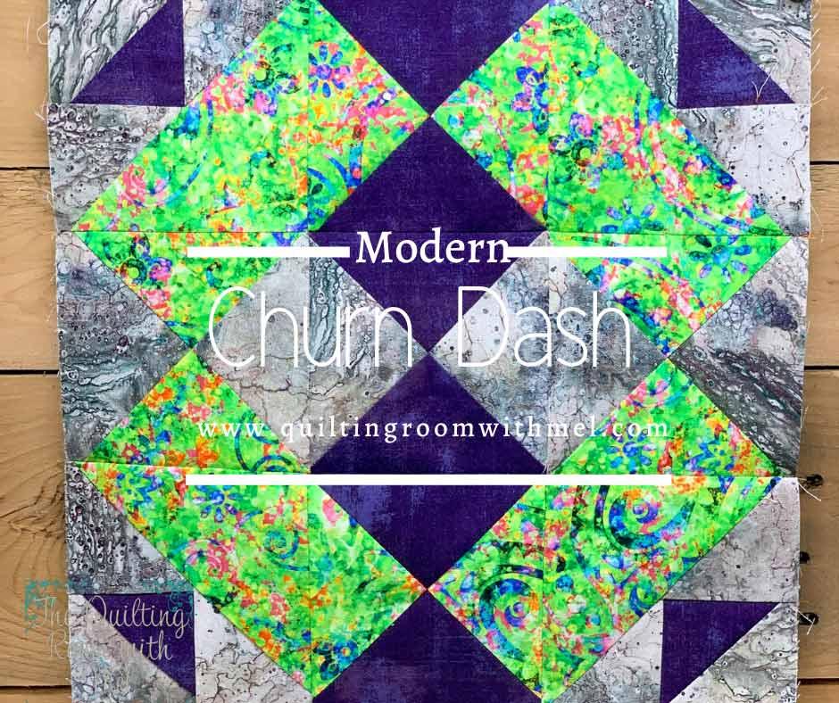MODERN CHURN DASH QUILT BLOCK - QUILT BLOCK MANIA