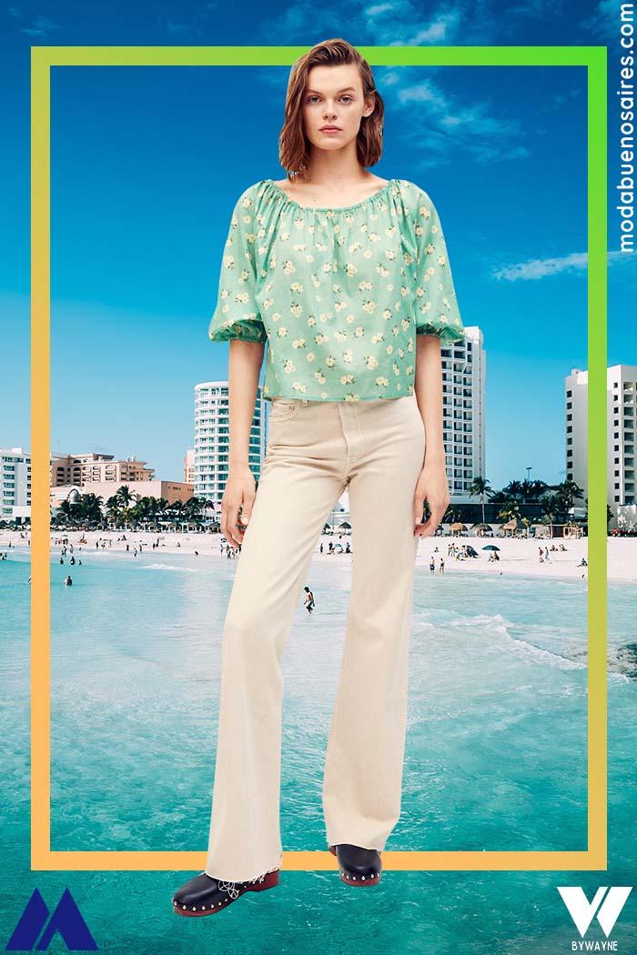 pantalones tiro alto colores claros jean verano 2022