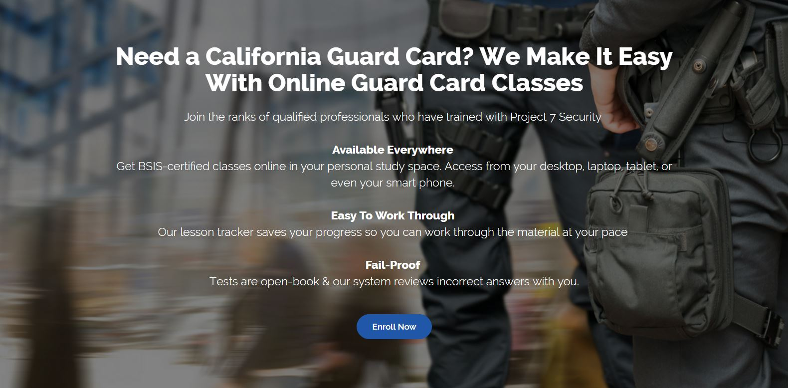 Online California Security Guard Card Training Service