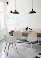 Rustic dining table for Scandinavian dining room with white dining chairs and nifty decoration