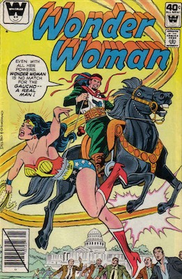 Wonder Woman comic book cover showing El Gaucho astride a black horse, holding a lasso around WW's waist