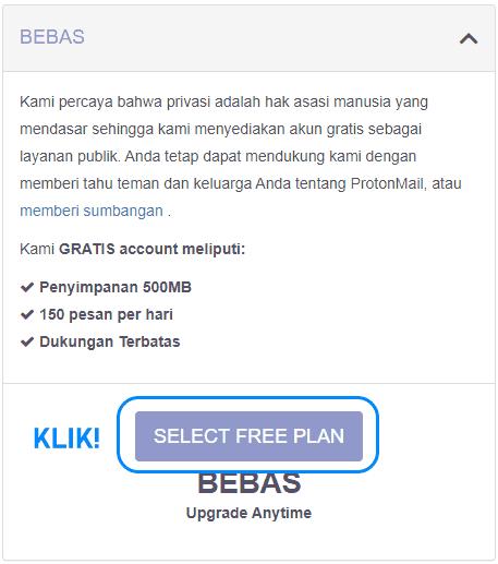 Jenis akun saat pendaftaran email baru di ProtonMail