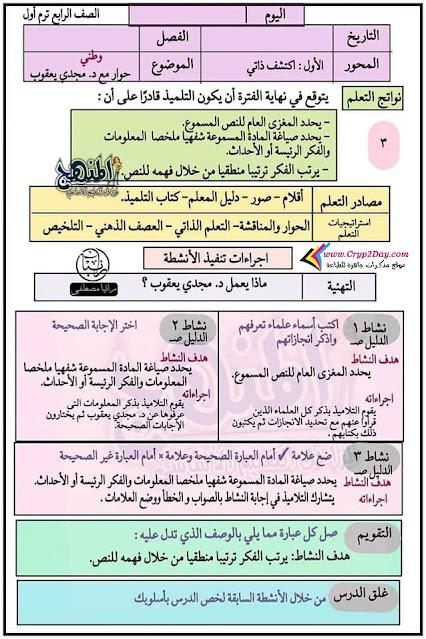 تحضير الدرس الثالث عربي رابعة ابتدائي 2022 الترم الاول