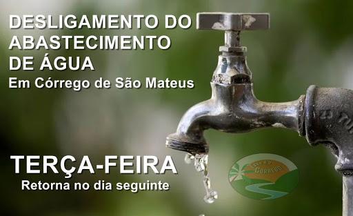 Aviso de desligamento no abastecimento de água