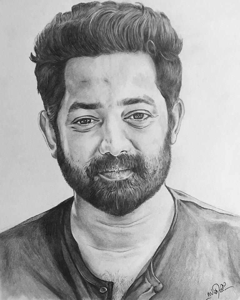 Pencil drawing of actor Asif Ali