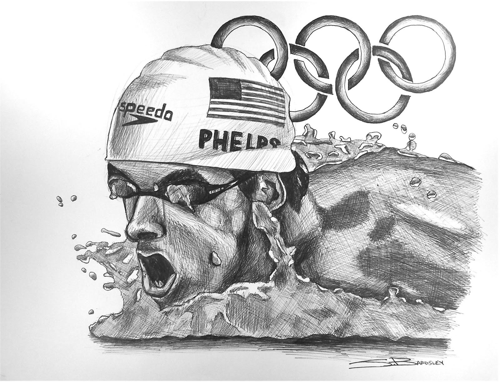 phelps michael drawing sports sketch pencil bardsley
