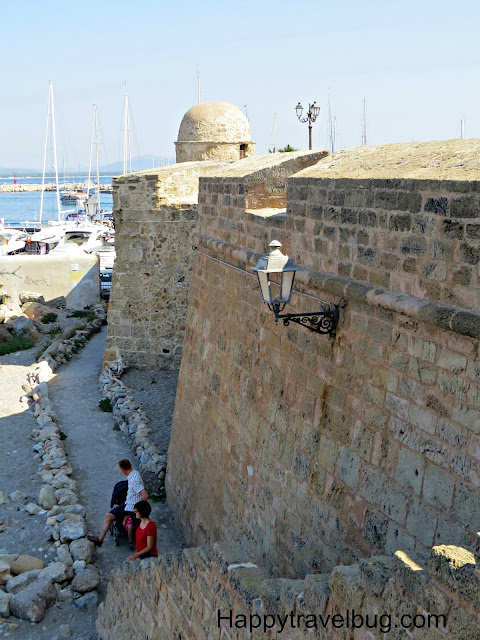 16th century wall surrounding Alghero, Sardinia, Italy