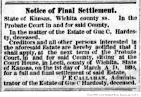 Notice of Final Settlement from 27 Jan 1898 - Leoti Standard (Leoti, Kansas), pg. 3, col. 4.