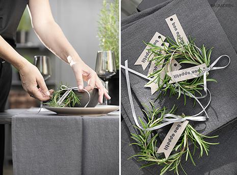 Tischdekoration mit einem selbstgebundenen Estragonkranz (mit Druckvorlage)