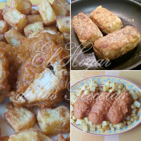 Bonito en rollo asturiano acompañado con patatitas cuadradas