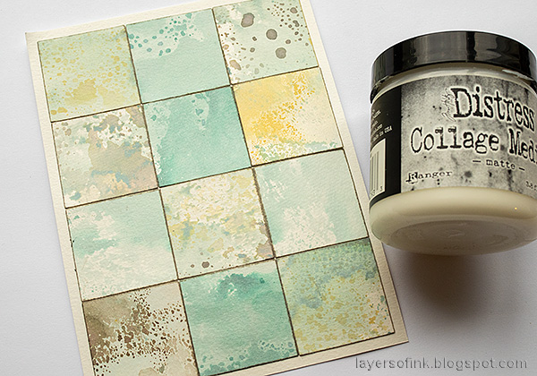 Layers of ink - Distress Ink Blocks Card Tutorial by Anna-Karin Evaldsson. Glue the squares.