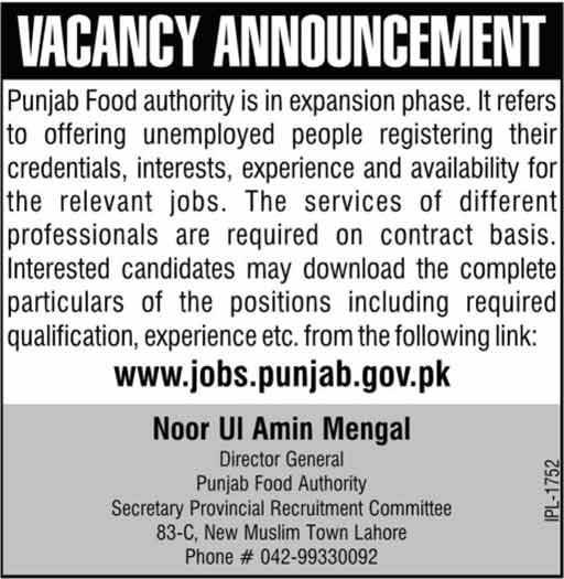 Jobs In Punjab Food Authority Govt Of Punjab Lahore Feb 2018