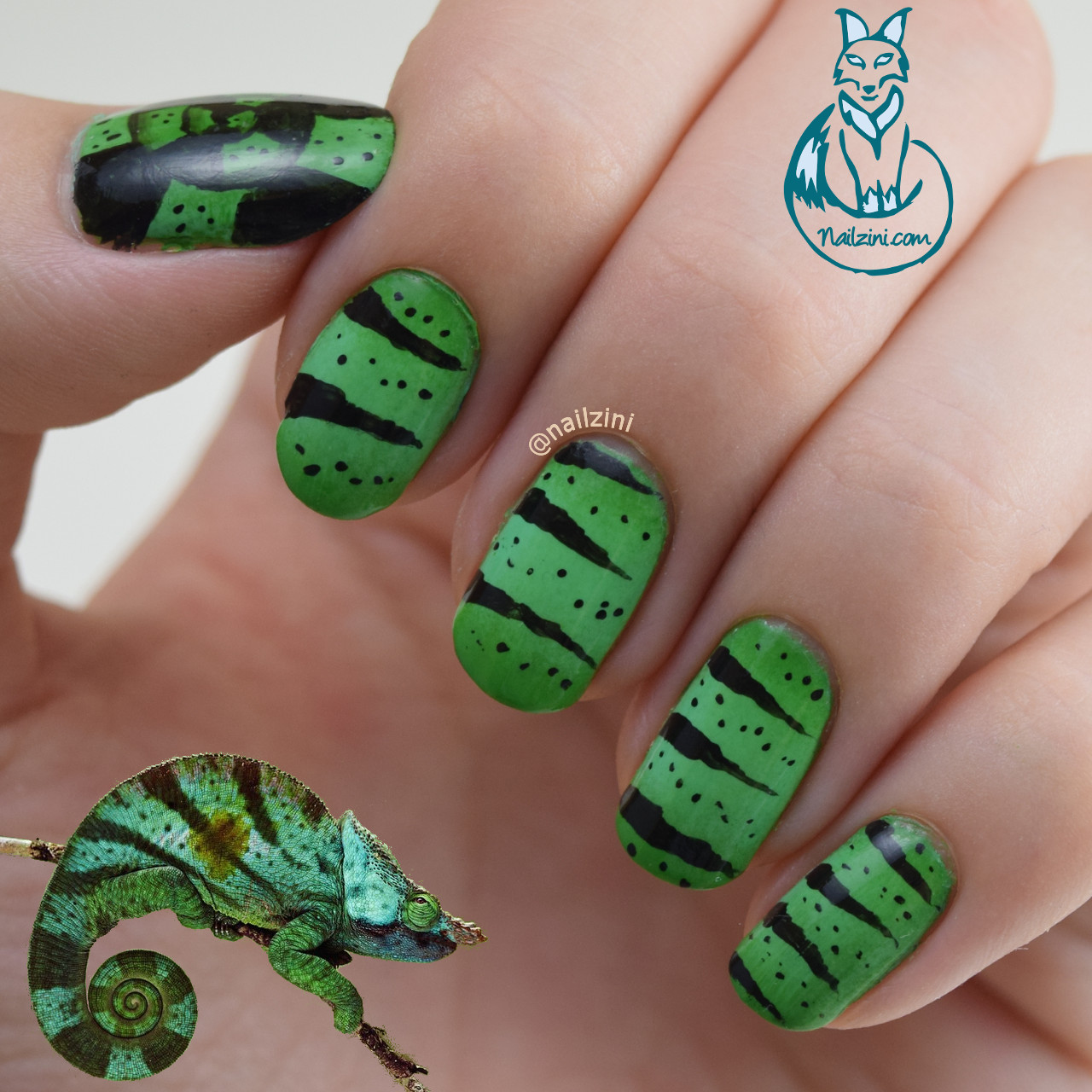 Chameleon inspired Nail Art