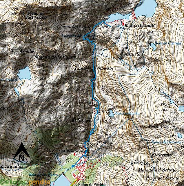 Mapa de la ruta señalizada al Refugio de Bachimaña.
