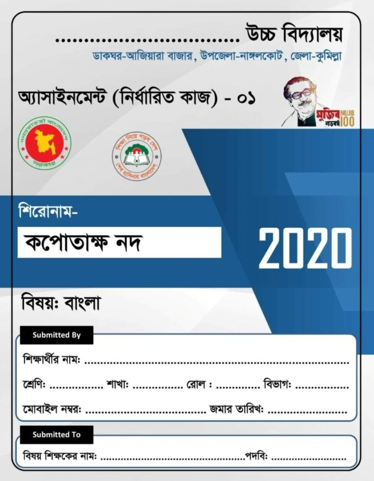 School Assignment Cover Page Design 2021