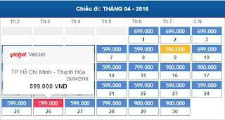 Giá vé máy bay Hồ Chí Minh đi Thanh Hóa tháng 4