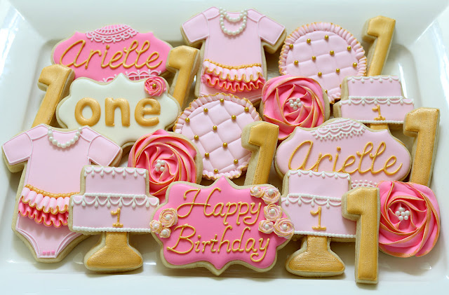 girly first birthday cookies