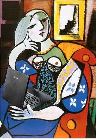 A woman blogs: Image in the style of Pablo Picasso