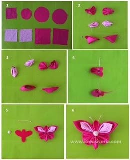 Tutorial membuat kanzashi kupu-kupu cantik berbahan kain perca