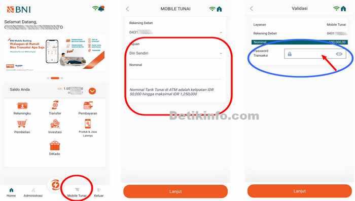 Menu Mobile Tunai di aplikasi Banking BNI