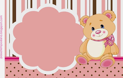 Girl Teddy Bear: Free Printable Invitations and Candy Bar Labels.