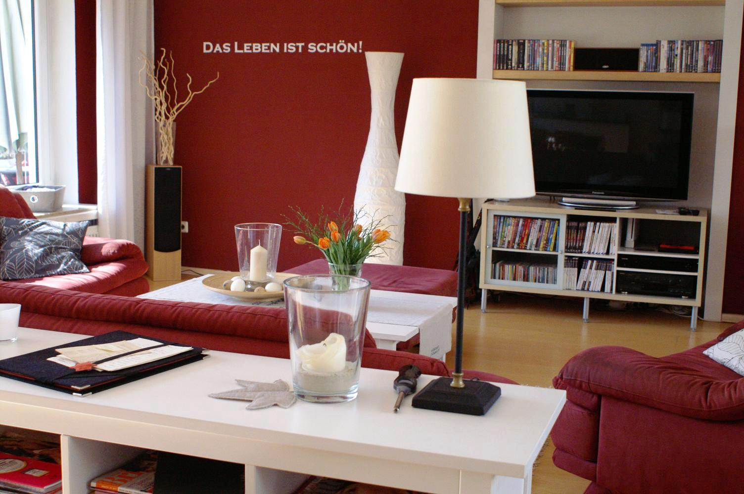 Wohnzimmer Rote Wand | Rote Wand Esszimmer Wohndesign