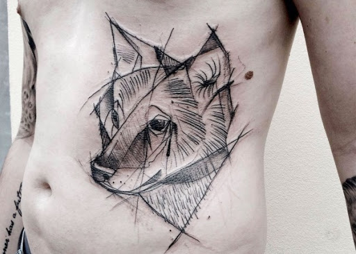 Cão Esboço De Tatuagem