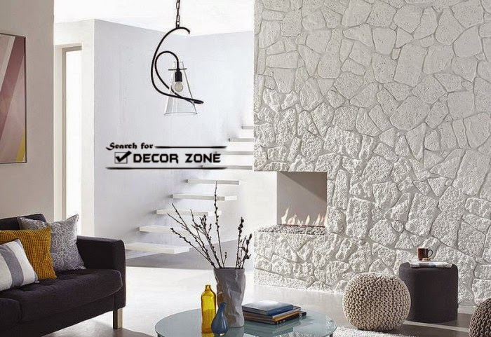 Original Stone Wall Panels In White Living Room With Fireplace