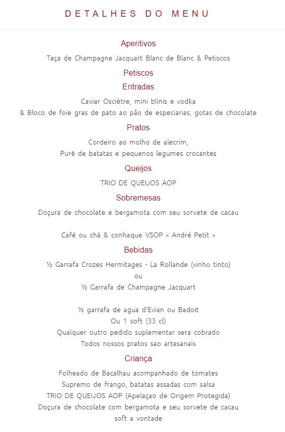cardapio jantar de Réveillon no Bateaux Parisiens em Paris