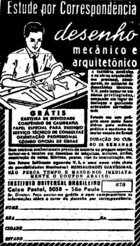 Propaganda antiga do Instituto Universal Brasileiro promovendo curso de Desenho Mecânico e Arquitetônico por correspondência