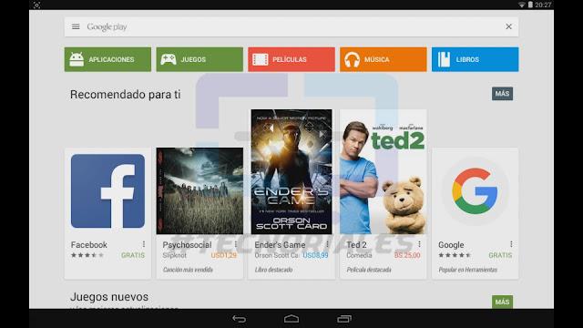 Pantalla principal de Google play en tablet canaima.