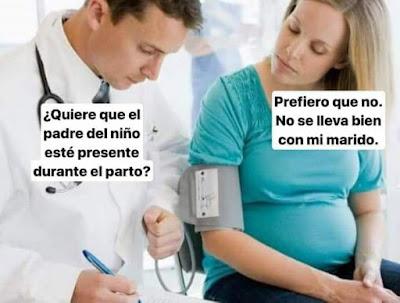 Quiere que el padre del niño esté presente durante el parto? Prefiero que no. No se lleva bien con mi marido.
