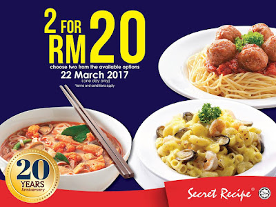 Secret Recipe Malaysia 2 Dishes for RM20 20th Anniversary Promo