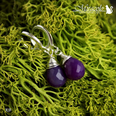 Miracolo, krople chalcedonu, chalcedony drops, chalcedony earrings